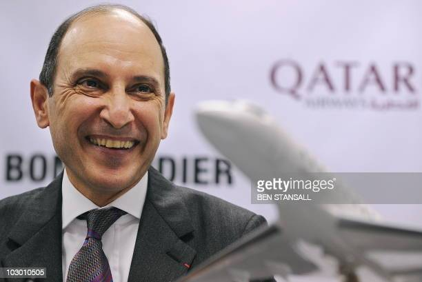 Qatar Airways Group Chief Executive Officer Akbar Al Baker smiles during a press conference at the Farnborough International Airshow in Hampshire...