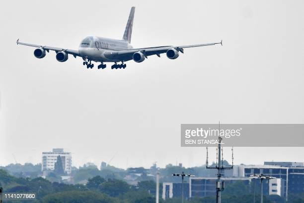 Qatar Airways operated A380-800 double-decker aircraft prepares to land at London Heathrow Airport, west of London on May 3, 2019. - London Mayor...