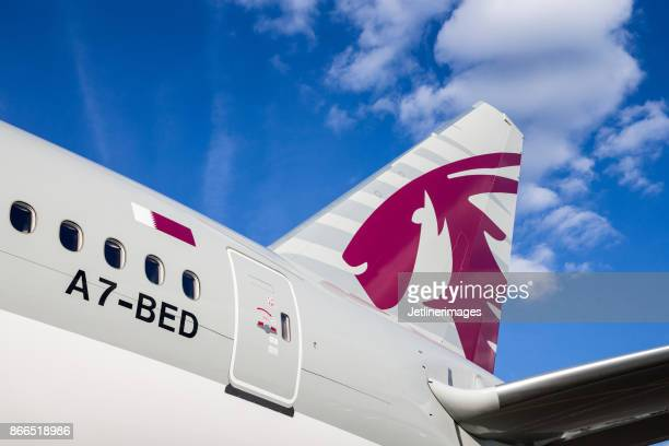 qatar airways tail - qatar airways a stock pictures, royalty-free photos & images