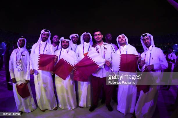 Qatar athletes attend the Asian Games 2018 Closing Ceremony on September 2, 2018 in Jakarta, Indonesia.