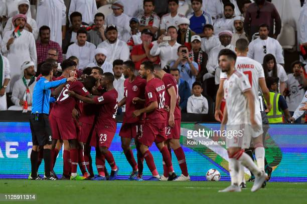 Qatar celebrate their second goal during the AFC Asian Cup semi final match between Qatar and United Arab Emirates at Mohammed Bin Zayed Stadium on...