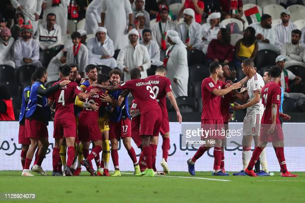Qatar celebrate their third goal during the AFC Asian Cup semi final match between Qatar and United Arab Emirates at Mohammed Bin Zayed Stadium on...