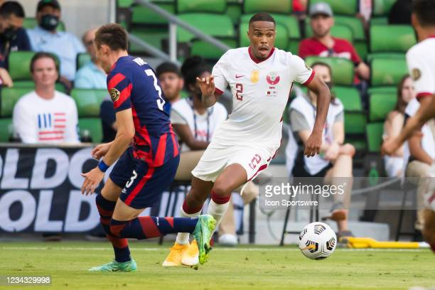 Qatar defender Pedro Miguel attacks the ball upfield during the Gold Cup semifinal match between the United States and Qatar on Thursday July 29th,...