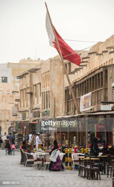 Qatar, Doha, People resting in Souq Waqif , Old Town