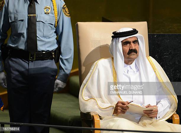 Qatar Emir Sheikh Hamad bin Khalifa AlThani waits to address the 67th UN General Assembly at the United Nations headquarters in New York September 25...
