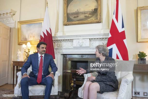Qatar Emir Sheikh Tamim bin Hamad alThani meets with British Prime Minister Theresa May at the 10 Downing Street official residence of the Prime...