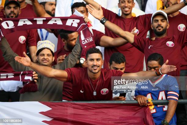 Qatar fans look on prior to the AFC Asian Cup final match between Japan and Qatar at Zayed Sports City Stadium on February 1 2019 in Abu Dhabi United...