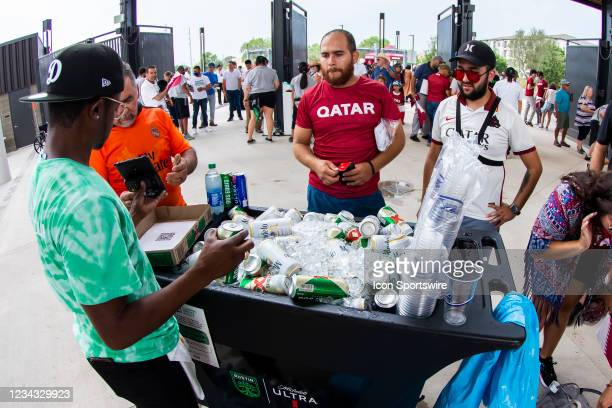 Qatar fans purchase beverages from a local vendor during the Gold Cup semifinal match between the United States and Qatar on Thursday July 29th, 2021...