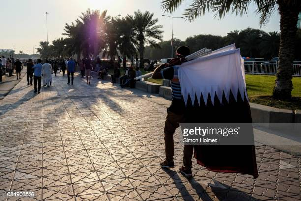qatar flags for sale to mark national day - for stock pictures, royalty-free photos & images