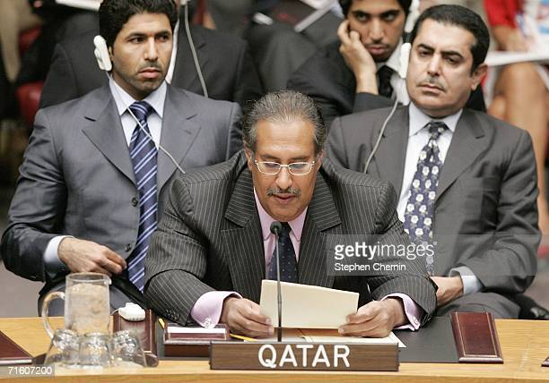 Qatar Foreign Minister Hamad bin Jassim al Thani addresses the United Nations Security Council August 8 2006 in New York City The council continues...