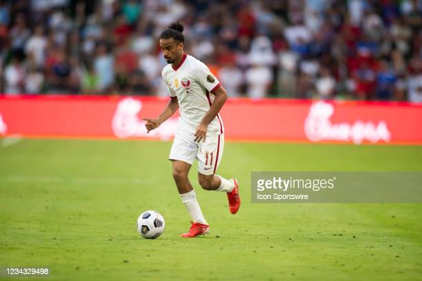 Qatar forward Akram Afif brings the ball upfield during the Gold Cup semifinal match between the United States and Qatar on Thursday July 29th, 2021...