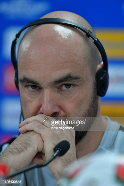 Qatar head coach Felix Sanchez Bas attends the press conference at Zayed Sports City Stadium on January 31 2019 in Abu Dhabi United Arab Emirates