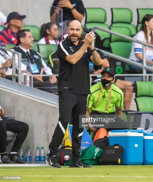 Qatar head coach Felix Sanchez Bas cheers on his team during the Gold Cup semifinal match between the United States and Qatar on Thursday July 29th,...