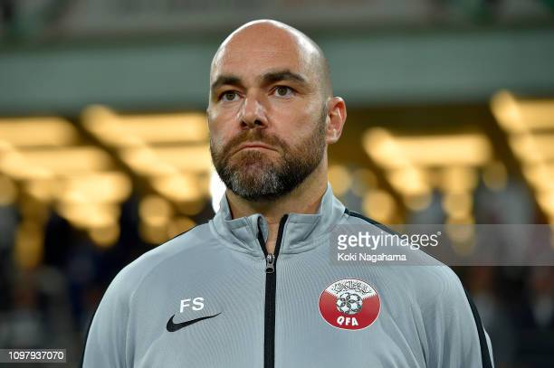Qatar Head Coach Felix Sanchez Bas looks on prior to the AFC Asian Cup round of 16 match between Qatar and Iraq at Al Nahyan Stadium on January 22...