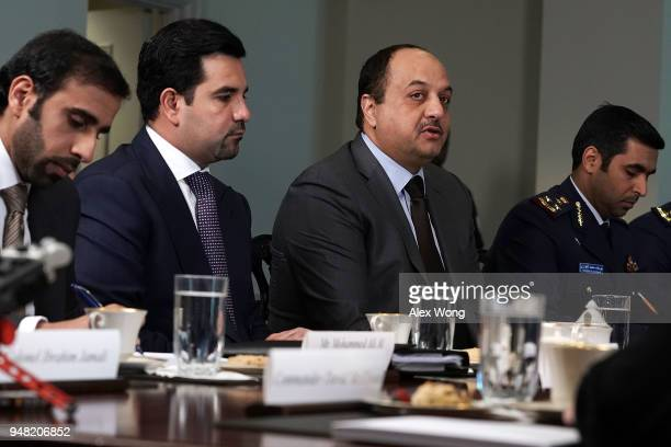 Qatar Minister of State for Defense Affairs Khalid Bin Mohammed AlAttiyah participates in a meeting with US Defense Secretary James Mattisat the...
