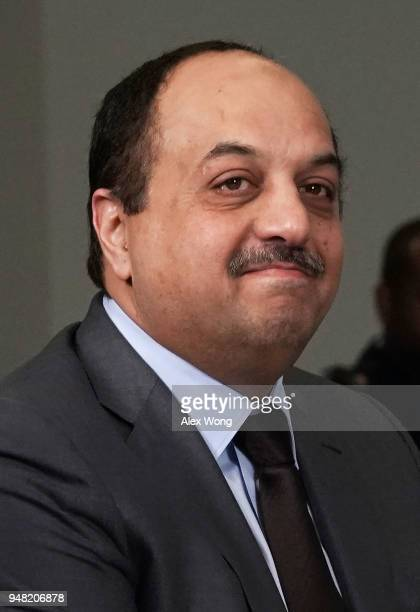 Qatar Minister of State for Defense Affairs Khalid Bin Mohammed AlAttiyah participates in a meeting with US Defense Secretary James Mattis at the...