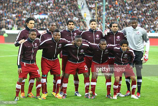 Qatar players line up for a team photo before the 2014 FIFA World Cup Group E qualifier match between Iran and Qatar at Azadi Stadium on February 29,...