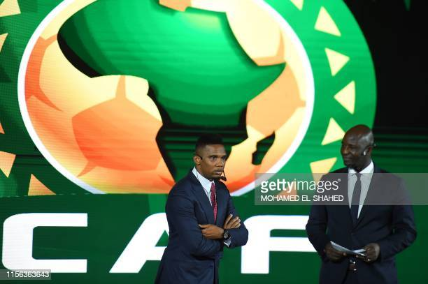 Qatar SC's Cameroonian forward and captain Samuel Eto'o speaks during the draw for the 2021 Africa Cup of Nations Qualifiers in the Egyptian capital...