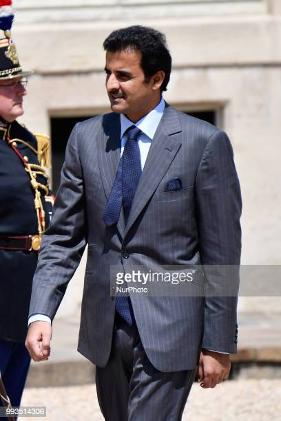 Qatar Sheikh Tamim bin Hamad Al Thani arrives the Elysee palace after a meeting with French president on July 6 in Paris