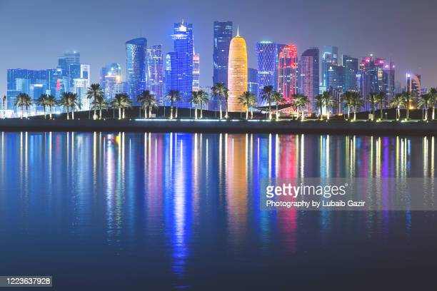 qatar skyline - doha stock pictures, royalty-free photos & images