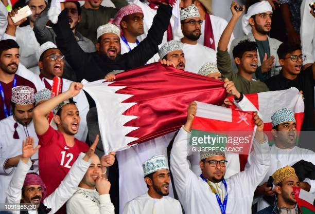 Qatar supporters celebrate the win during the 2019 AFC Asian Cup final football match between Japan and Qatar at the Zayed Sports City Stadium in Abu...