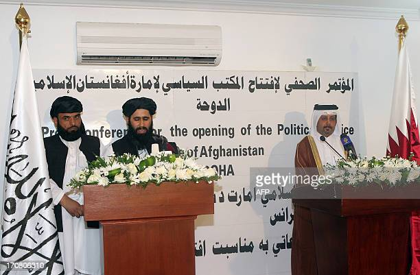 Qatari Assistant Minister for Foreign Affairs Ali bin Fahd alHajri and the Talibans office spokesman Mohammed Naim speak during a joint press...