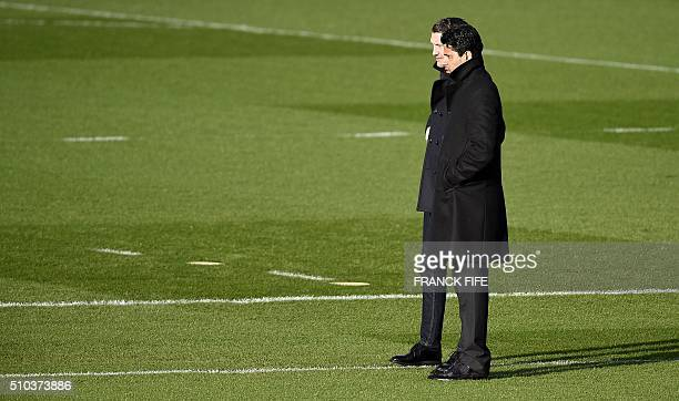 Qatari chairman of the Paris SaintGermain L1 football club Nasser AlKhelaifi is pictured during a training session on February 15 2016 in...