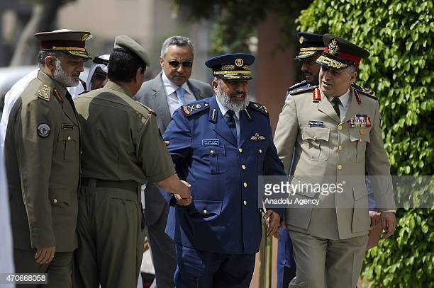 Qatari Chief of Staff Major Gen pilot Ghanim bin Shaheen alGhanim arrives at the Arab League headquarters for the meeting of the army chiefs from...