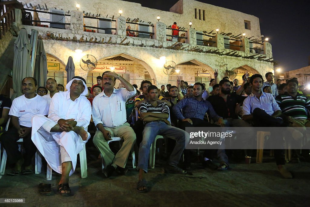 Qatari citizens watch World Cup final match : News Photo