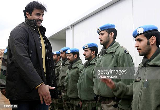 Qatari Crown Prince Sheikh Tamim Bin Hamad alThani meets with Qatari soldiers serving with the United Nations Interim Forces in Lebanon in the...