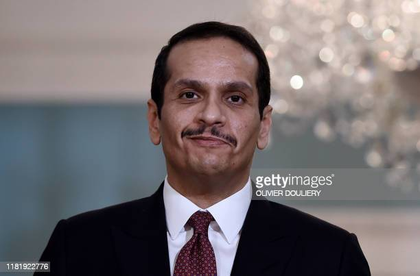 Qatari Deputy Prime Minister and Minister of Foreign Affairs Sheikh Mohammed bin Abdulrahman Al-Thani looks on during a meeting with US Secretary of...