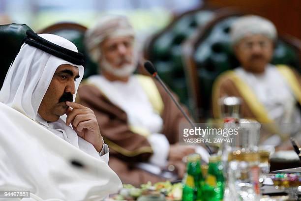Qatari Emir Hamad bin Khalifa alThani attends the final session of the Gulf Cooperation Council summit in Kuwait City on December 15 2009 Energyrich...