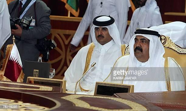 Qatari Emir sheikh Hamad Bin Khalifa al-Thani and Qatari Crown Prince Sheikh Tamim Bin Hamad al-Thani Gulf Cooperation Council summit in Doha, 03...