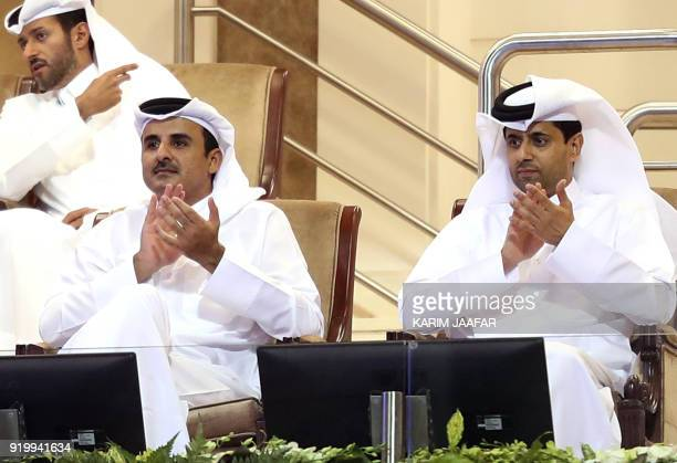 Qatari Emir Sheikh Tamim bin Hamad alThani and President of the Qatar Tennis Federation and Chairman and chief executive officer of Paris...