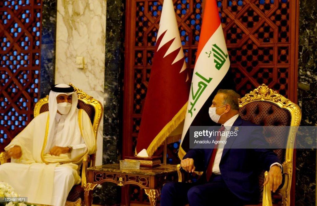 Qatari Emir Sheikh Tamim bin Hamad al-Thani in Baghdad : Nieuwsfoto's