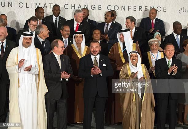 Qatari Emir Sheikh Tamim bin Hamad alThani Morocco's King Mohammed VI Monaco's Prince Albert II Kuwait Emir Sabah alAhmad alJaber alSabah and UN...