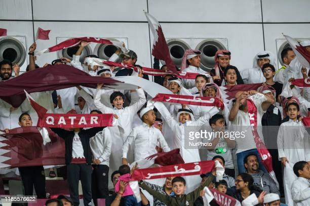 Qatari fans before the Gulf Cup group stage match between Qatar and Yemen at the Khalifa International Stadium in Doha, Qatar on November 29 2019.