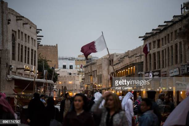 Qatari flag at Souk Waqif in Doha, Qatar