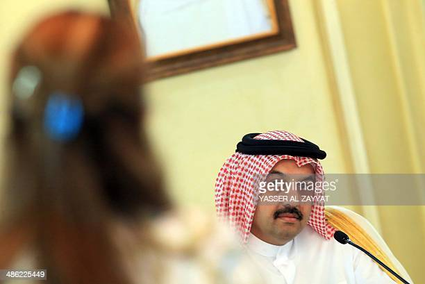 Qatari Foreign Minister Khaled alAttiyah attends a joint press conference with his Kuwaiti counterpart on April 23 2014 at the foreign ministry in...