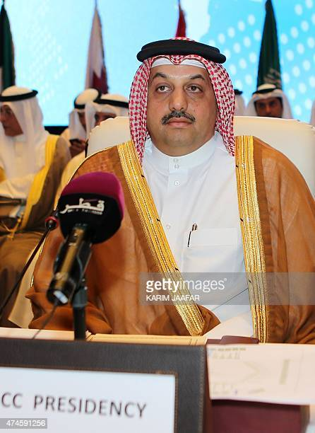 Qatari Foreign Minister Khalid bin Mohamed alAttiyah attends the 24th session of the joint Gulf Cooperation Council EU ministerial council meeting on...