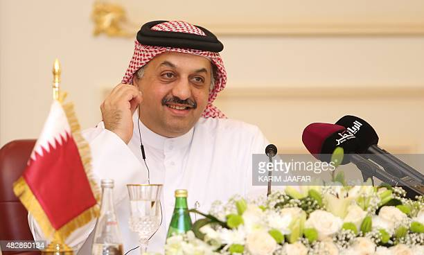 Qatari Foreign Minister Khalid bin Mohammad AlAttiyah listens during a joint press conference with Russia's Foreign Minister Sergey Lavrov on August...
