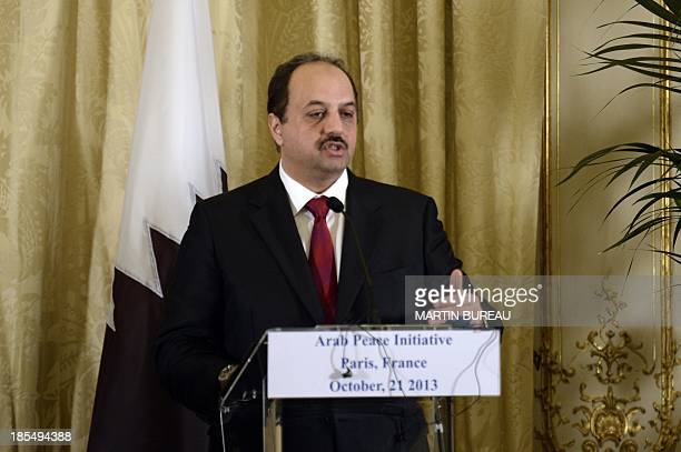 Qatari Foreign minister Khalid bin Mohammed alAttiyah gives a press conference after a meeting with US Secretary of State and on October 21 2013 in...