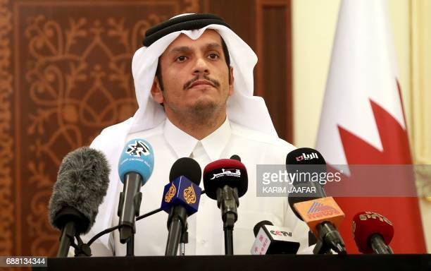 Qatari Foreign Minister Mohammed bin Abdulrahman alThani gives a press conference in Doha on May 25 2017 Qatar has been targeted by a hostile...