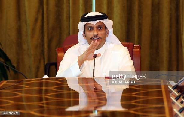 Qatari Foreign Minister Mohammed bin Abdulrahman alThani gives a press conference in Doha on June 8 2017 Qatar's foreign minister rejected attempts...