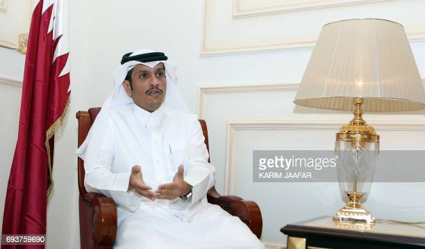 Qatari Foreign Minister Mohammed bin Abdulrahman alThani speaks to an AFP reporter in Doha on June 8 2017 Qatar's foreign minister rejected attempts...