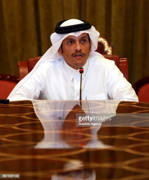 Qatari Foreign Minister Sheik Mohammed bin Abdulrahman Al Sani delivers a speech during a press conference in Doha Qatar on June 18 2017