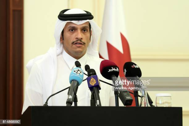 Qatari Foreign Minister Sheik Mohammed bin Abdulrahman AlThani and French Minister for Foreign and European Affairs JeanYves Le Drian hold a press...