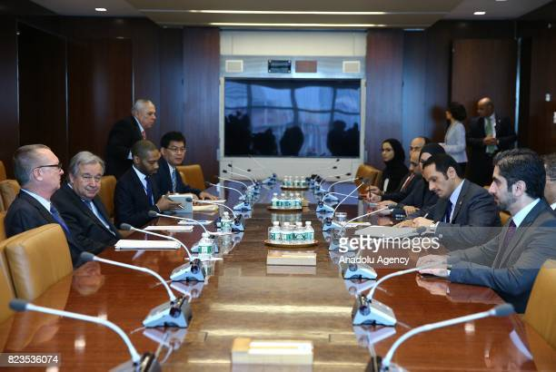Qatari Foreign Minister Sheikh Mohammed bin Abdulrahman Al Thani meets with United Nations SecretaryGeneral Antonio Guterres at UN Headquarters in...