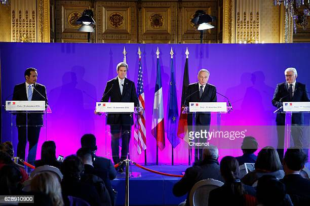 Qatari Foreign Minister Sheikh Mohammed bin Abdulrahman Al Thani US Secretary of State John Kerry French Foreign Affairs Minister JeanMarc Ayrault...