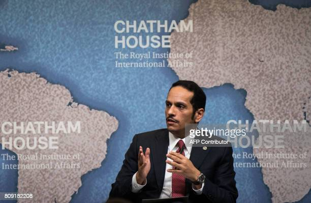 Qatari Foreign Minister Sheikh Mohammed bin Abdulrahman AlThani speaks during a Chatham House think tank in London on July 5 2017 Qatar's foreign...